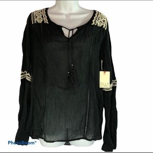 Billabong Black semi sheer bell sleeve top women L